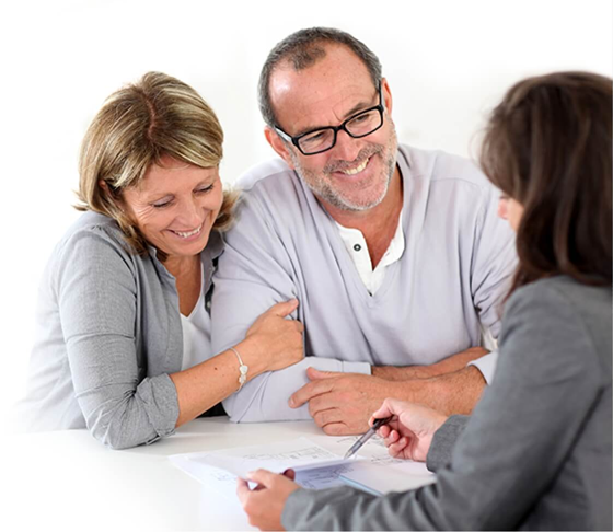 Older couple meeting with insurance agent